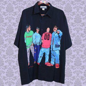 rare SKOOPS NYC worldwide hip hop button up shirt